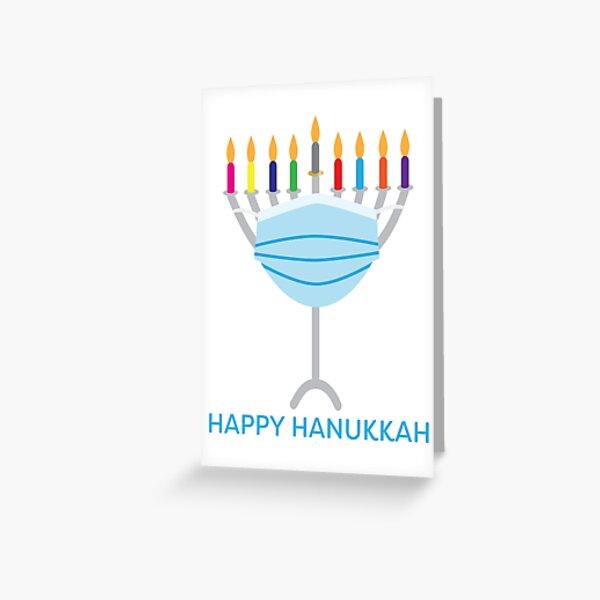 Happy Hanukkah - Hanukkah Menorah with face mask Greeting Card