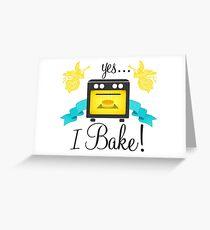 """Yes... I Bake!"" Oven Emblem Greeting Card"