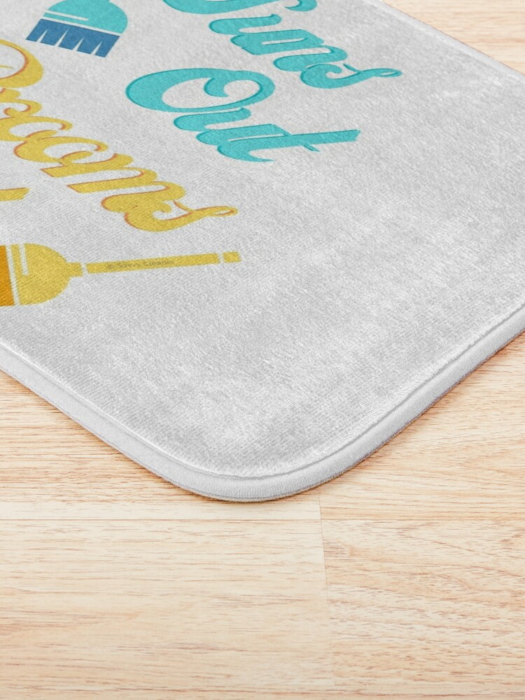 Alternate view of Suns Out Brooms Out, Fun Housekeeping Humor Bath Mat
