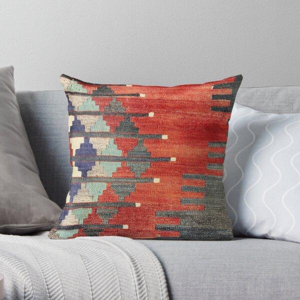 Vintage türkischer dekorativer Kelim, Navaho-Webart, gewebtes aztekisches Textil Dekokissen