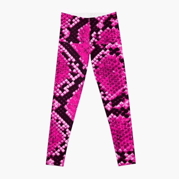 Pink Snakeskin Animal Print Texture Leggings