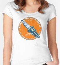 Retro John's Electrical auto and motorcycle spark plugs Women's Fitted Scoop T-Shirt