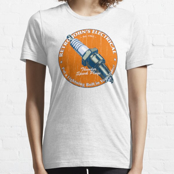 Retro John's Electrical auto and motorcycle spark plugs Essential T-Shirt