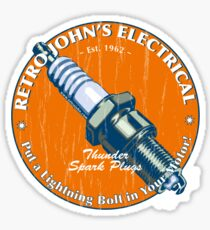 Retro John's Electrical auto and motorcycle spark plugs Sticker