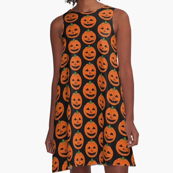 Jack O'Lantern Halloween Pumpkin Face  A-Line Dress