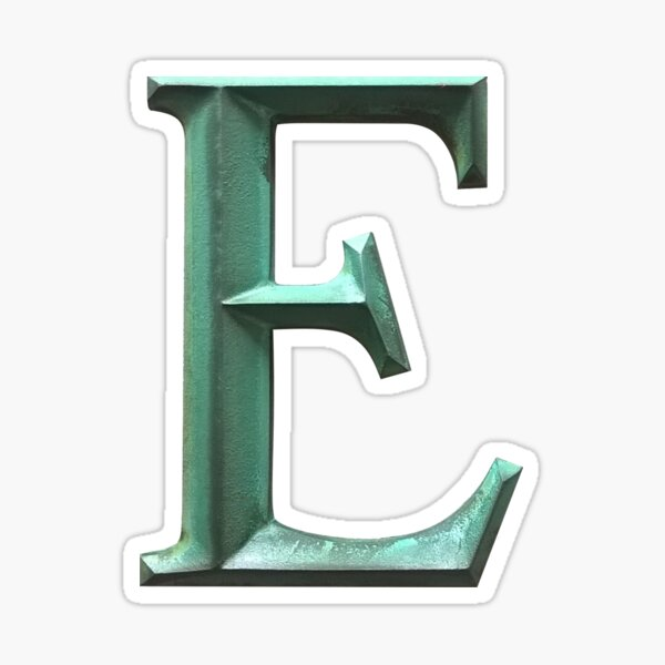 LETTER E In Green Sticker Sticker