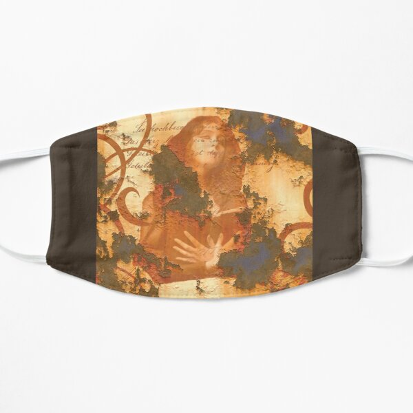 Graphic Design Girl with Book Grunge Rust Scrolls Flat Mask