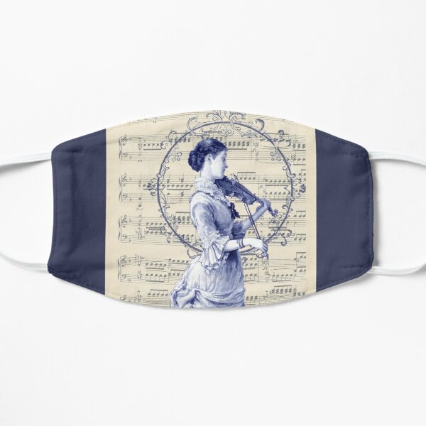 Victorian Woman Violinist Vintage Sheet Music  Flat Mask