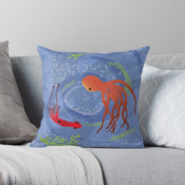 Swirling cephalopods Throw Pillow