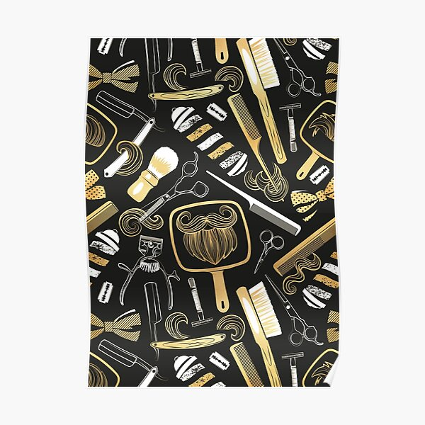 Shear shave shine // black background white and gold texture vintage barber shop tools Poster