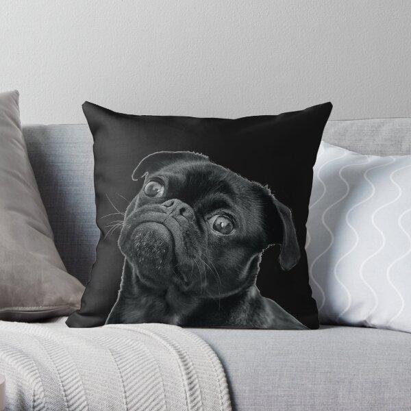 Black Pug Black Version Throw Pillow