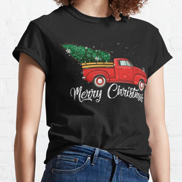 Red Truck Pick Up Christmas Tree Vintage Retro Sweater Gift For Men And Women, Halloween day, Thanksgiving day, Christmas day Classic T-Shirt