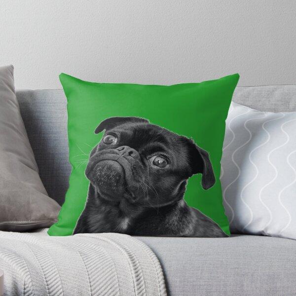 Black Pug Big Green Version Throw Pillow