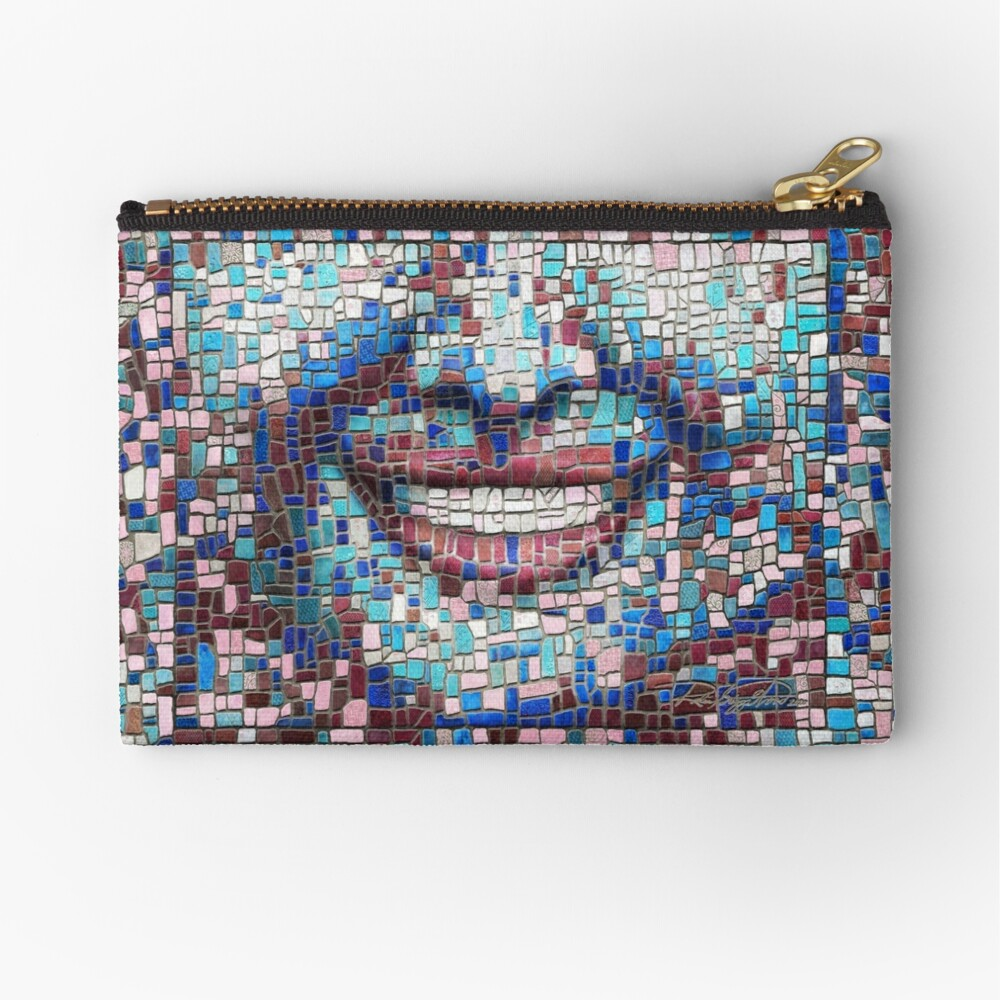 """Broken"" (mosaic tile, painted) - ""Smile"" Fine Art series Zipper Pouch"