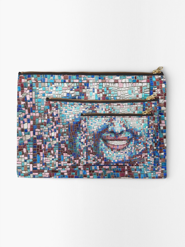 "Alternate view of ""Broken"" (mosaic tile, painted) - ""Smile"" Fine Art series Zipper Pouch"