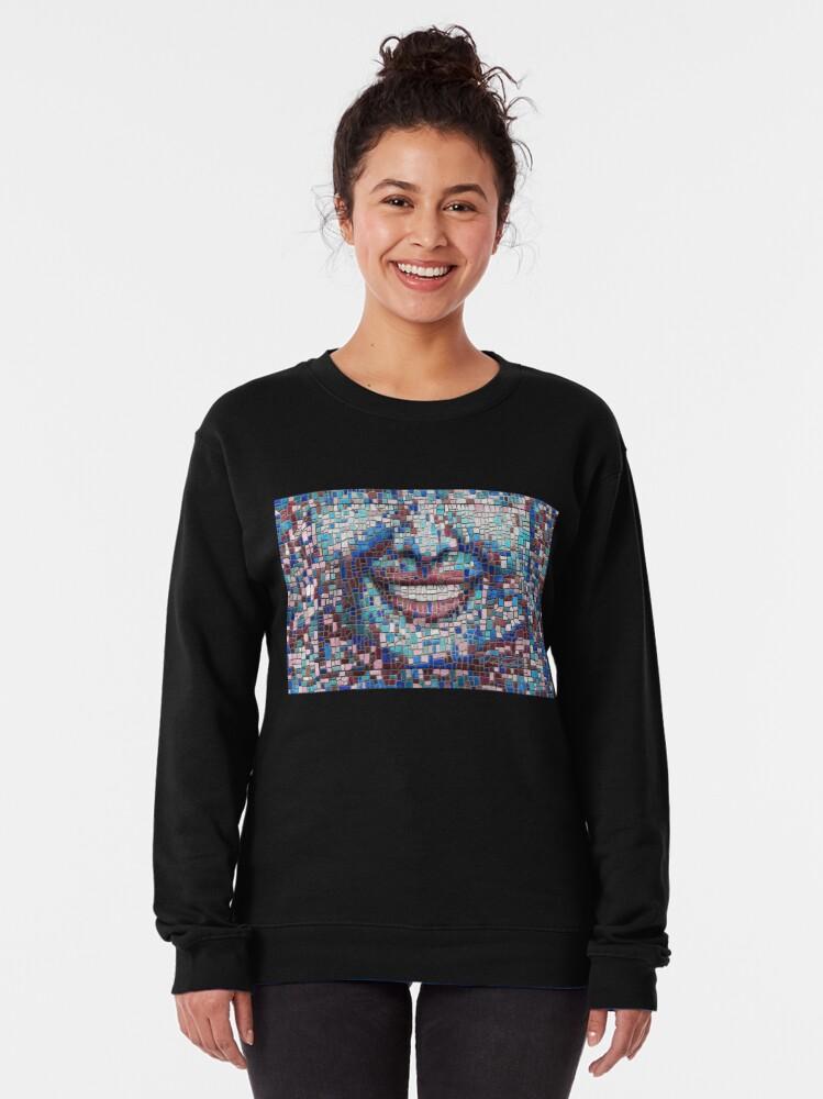 """Alternate view of """"Broken"""" (mosaic tile, painted) - """"Smile"""" Fine Art series Pullover Sweatshirt"""