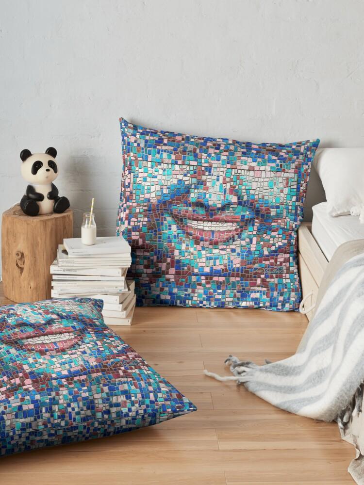 "Alternate view of ""Broken"" (mosaic tile, painted) - ""Smile"" Fine Art series Floor Pillow"