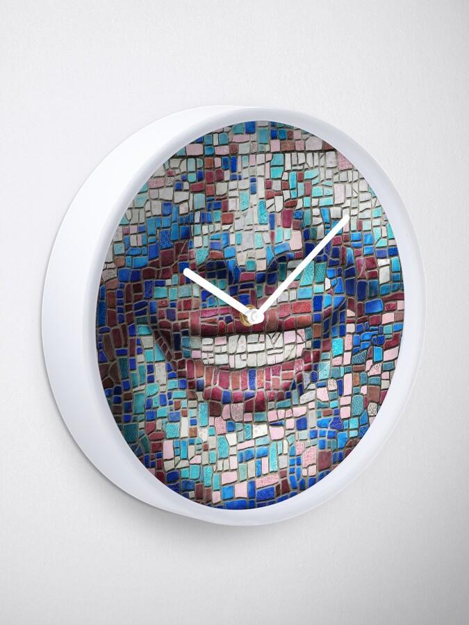 "Alternate view of ""Broken"" (mosaic tile, painted) - ""Smile"" Fine Art series Clock"
