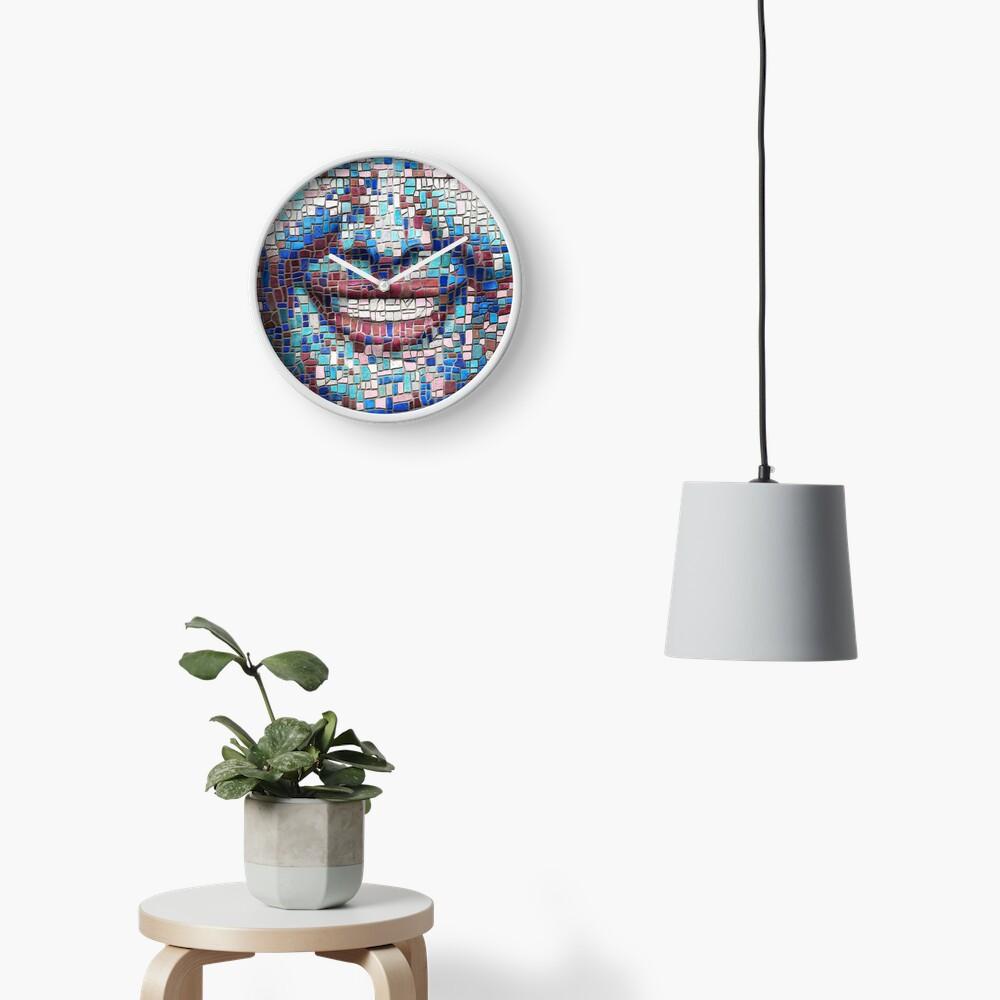 """Broken"" (mosaic tile, painted) - ""Smile"" Fine Art series Clock"