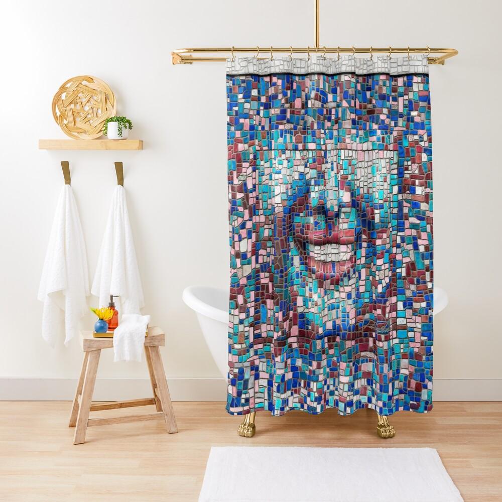 """Broken"" (mosaic tile, painted) - ""Smile"" Fine Art series Shower Curtain"