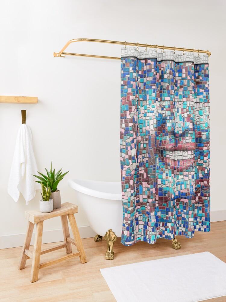 "Alternate view of ""Broken"" (mosaic tile, painted) - ""Smile"" Fine Art series Shower Curtain"