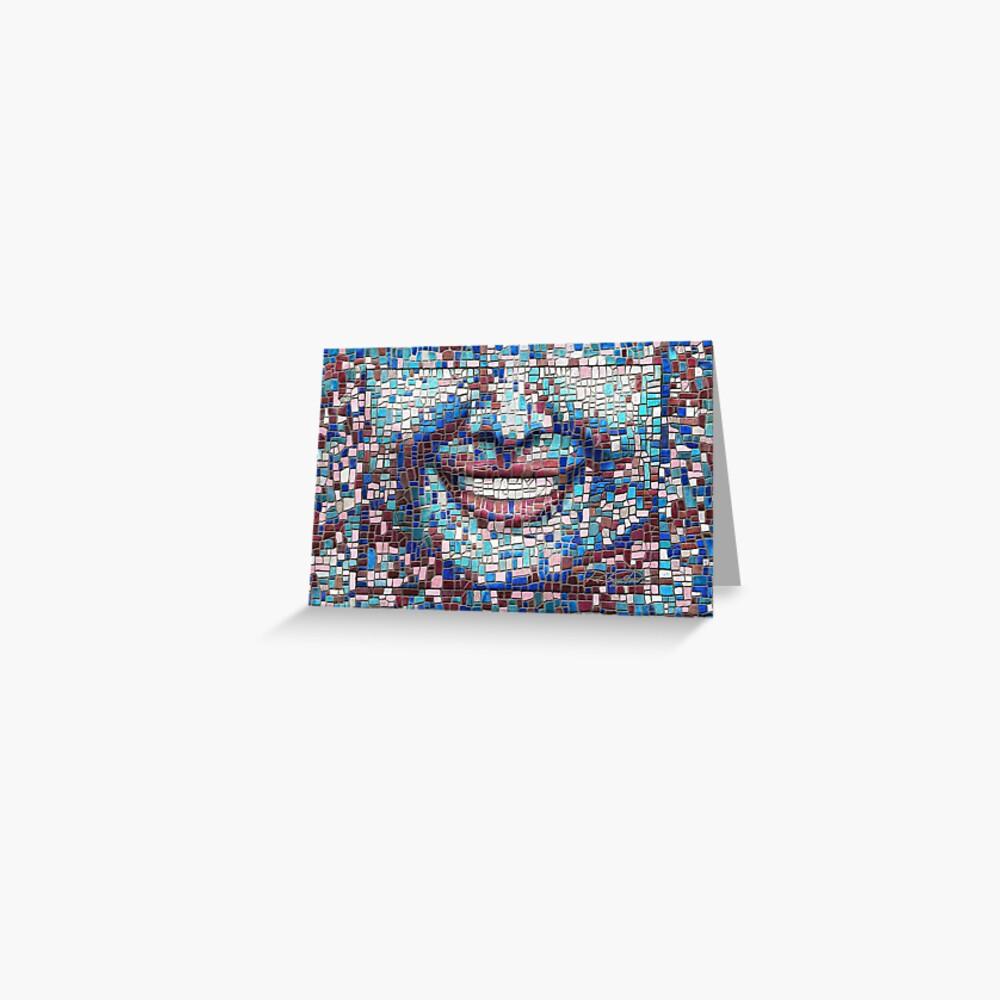 """Broken"" (mosaic tile, painted) - ""Smile"" Fine Art series Greeting Card"