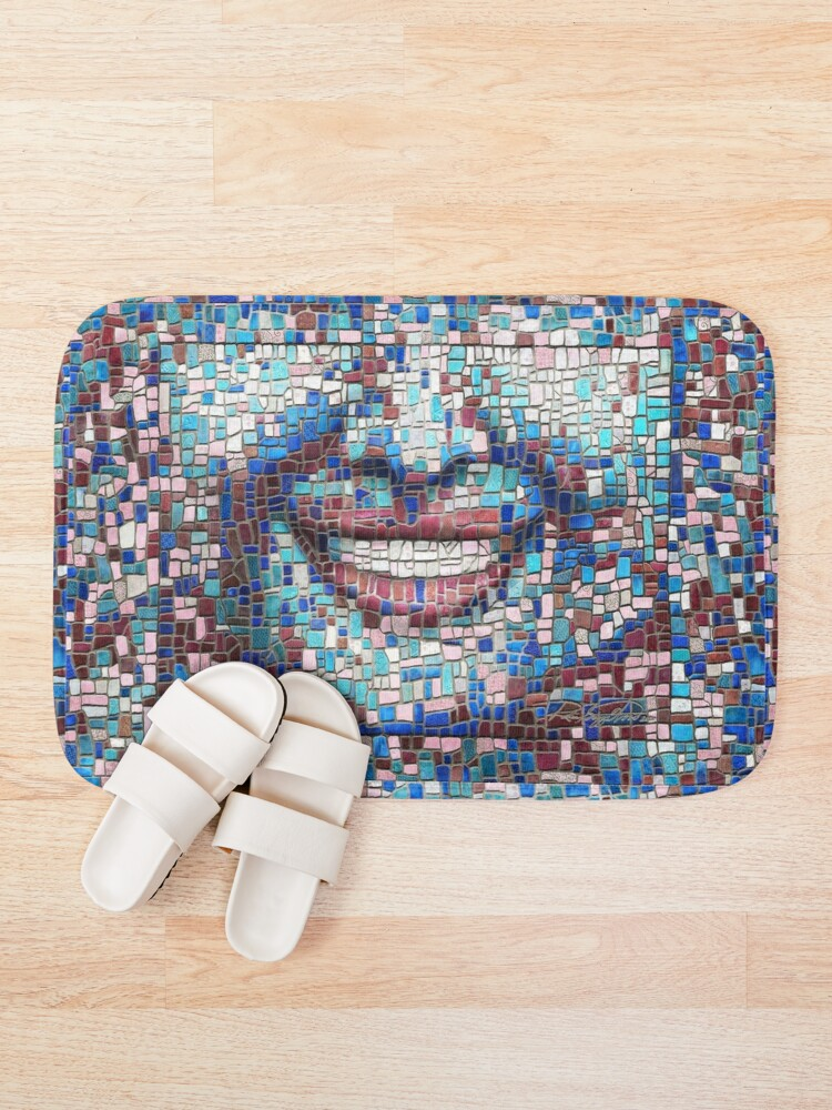 "Alternate view of ""Broken"" (mosaic tile, painted) - ""Smile"" Fine Art series Bath Mat"