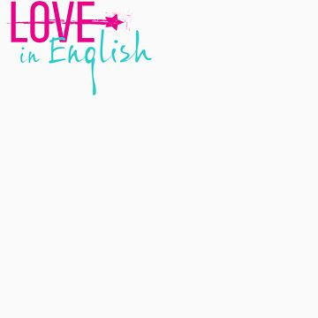Love in English off-center small logo by PerryPalomino