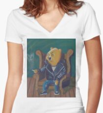 Smoking Winnie The Pooh Women's Fitted V-Neck T-Shirt