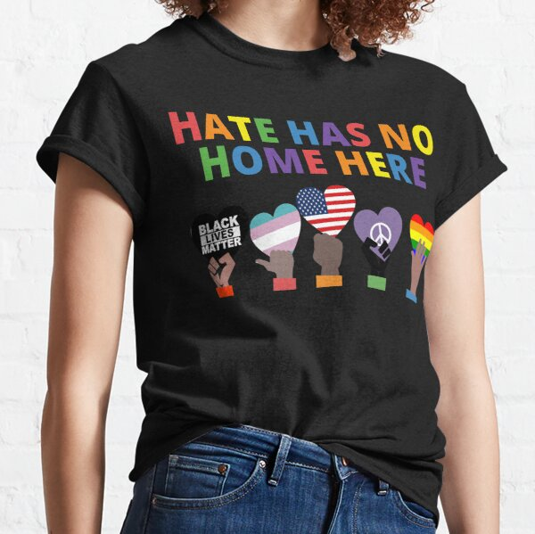 No H8 Hate Gay Rights Equality Neon Pink Distressed Design LGBT Men/'s T-shirt