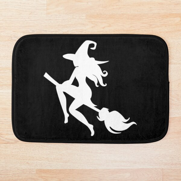 Witch riding broom Bath Mat