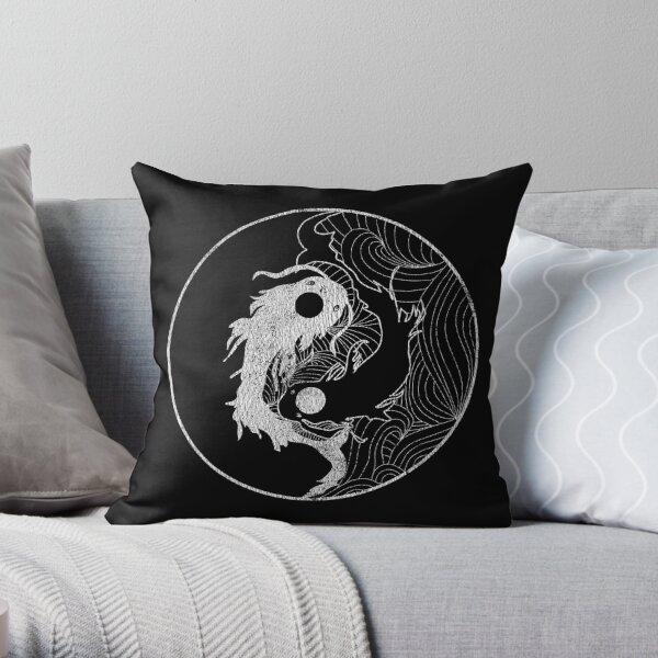 Yin and Yang Coy Fish Throw Pillow