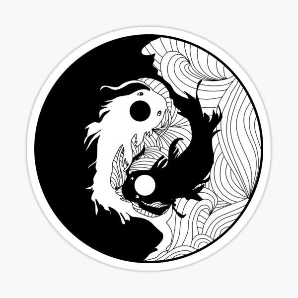Yin and Yang Coy Fish Sticker