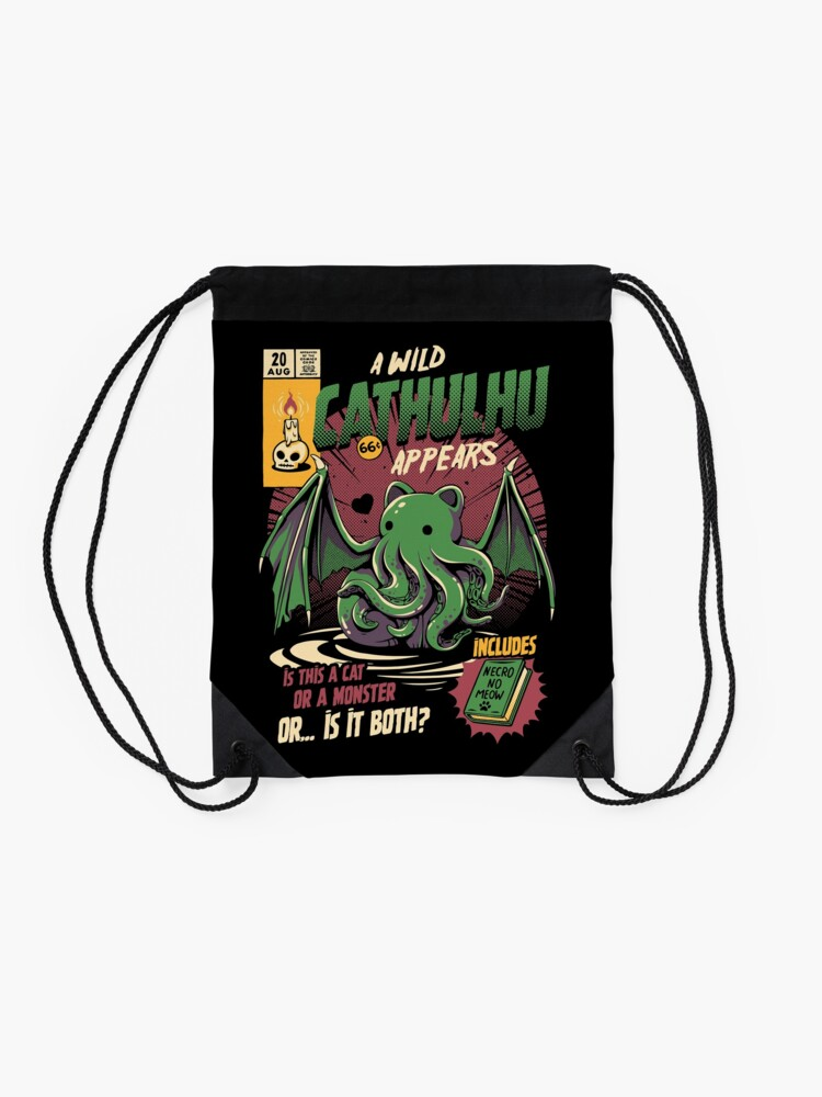 Alternate view of Cathulhu Drawstring Bag