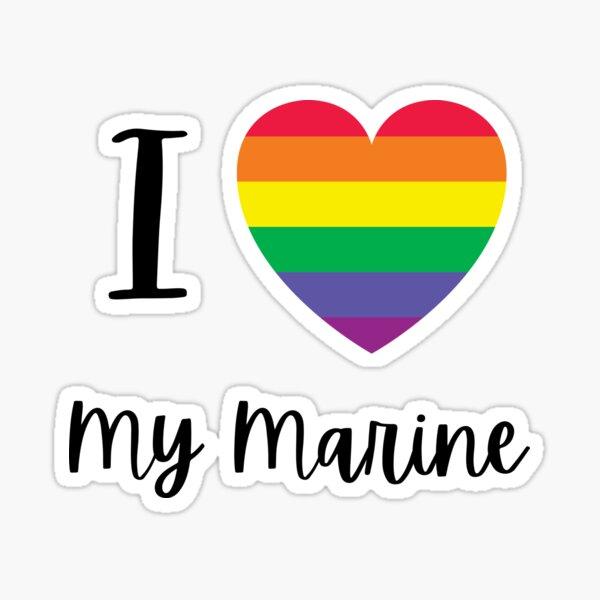 LGBTQ I Love My Marine Sticker