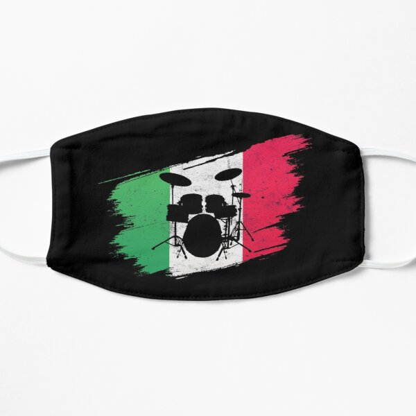 Italian Flag With Drums For Drummers Flat Mask