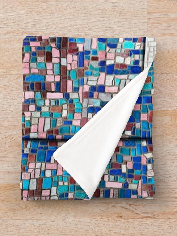 """Alternate view of """"Broken"""" (mosaic tile, painted) - """"Smile"""" Fine Art series Throw Blanket"""