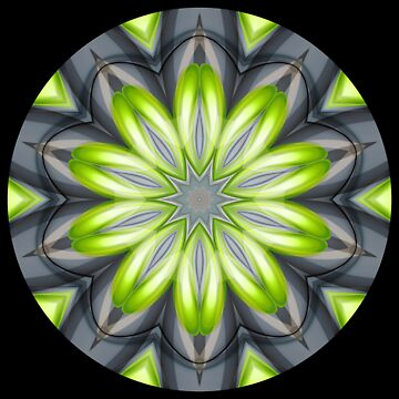 Green Digital Flower Kaleidoscope 007 by fantasytripp