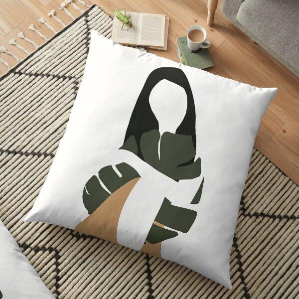 Woman Girl Holding Green Monstera Leaves Minimalist Modern Mid Century Feminine Sensual Style Floor Pillow