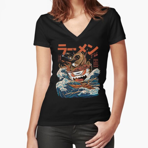 The black Great Ramen Fitted V-Neck T-Shirt