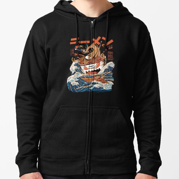 The black Great Ramen Zipped Hoodie