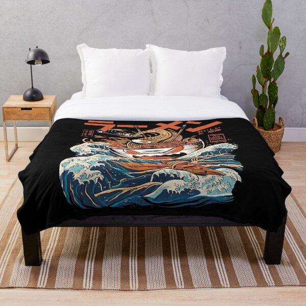 The black Great Ramen Throw Blanket