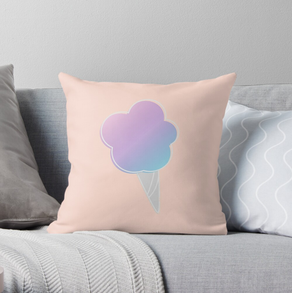 Pastel Candy Floss Throw Pillow