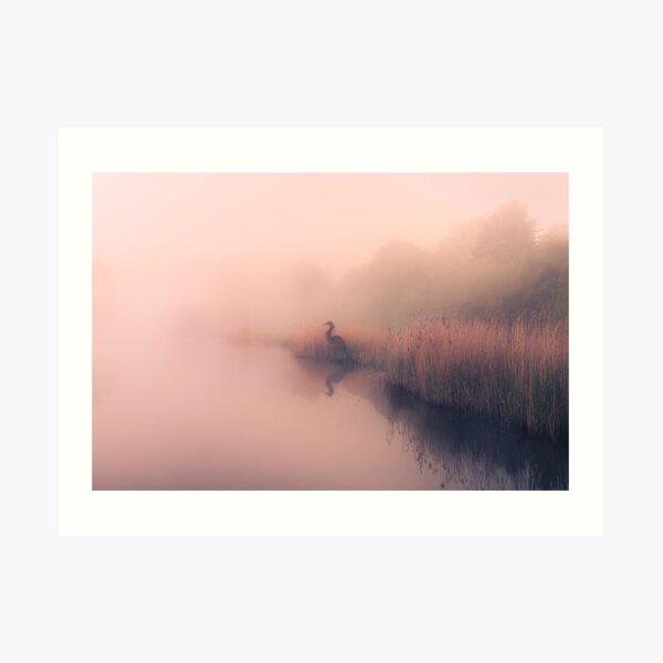 Willow Heron of The Misty Lake Art Print