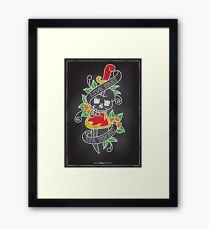 Chalk Board Tattoos - Skull Framed Print