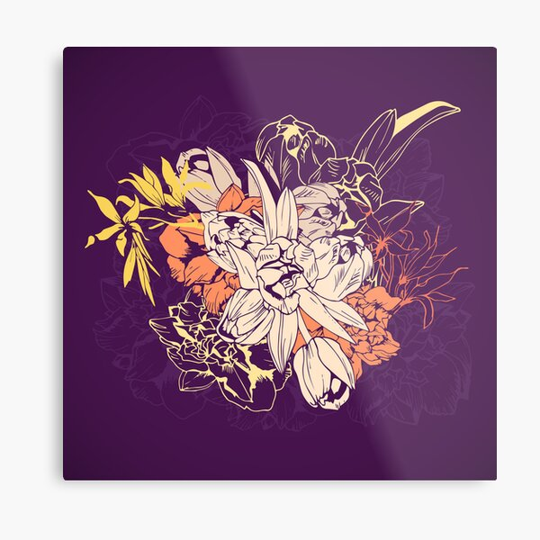 Graphic composition composed of tulips and narcissus Metal Print