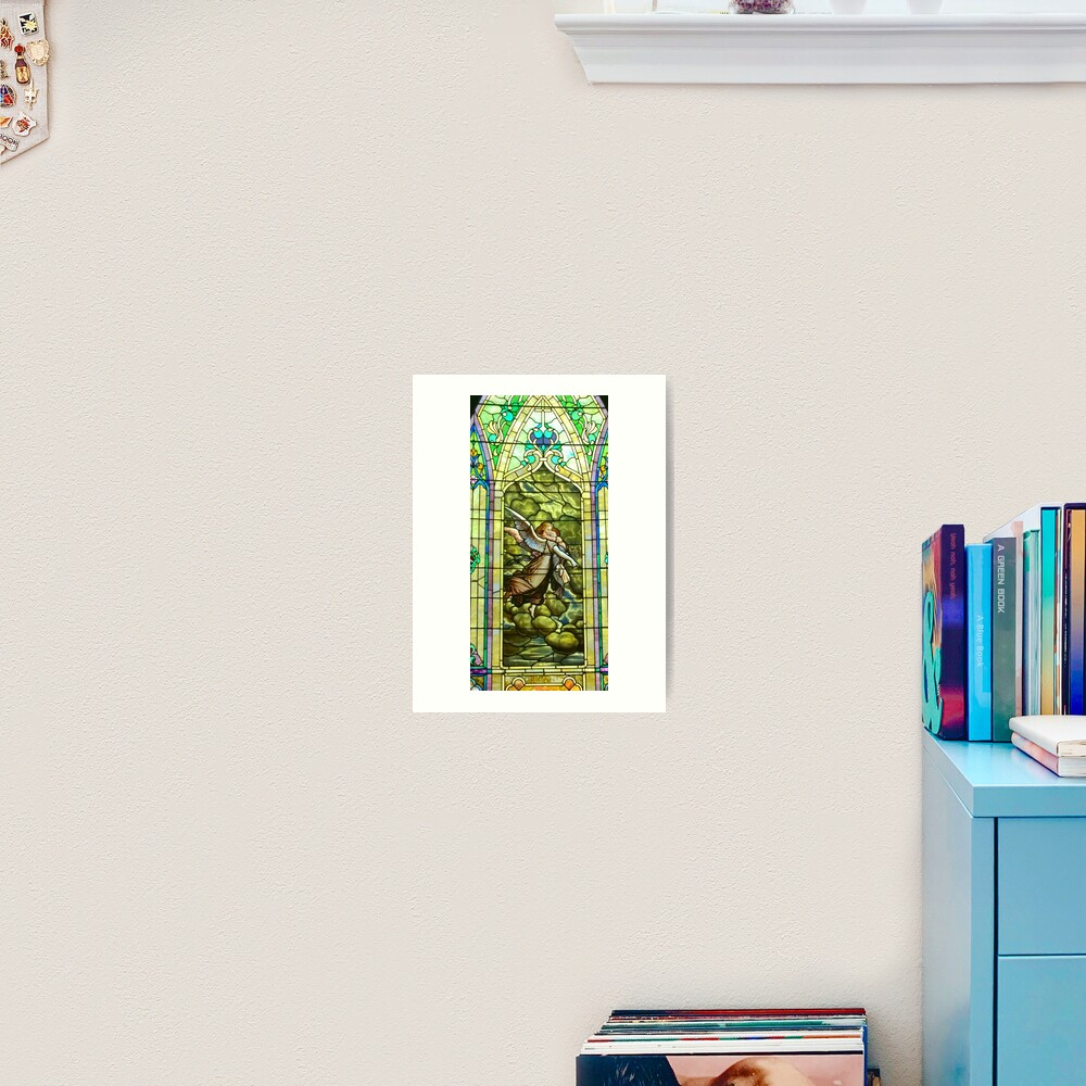 New Harmony-Stained Glass-Madonna & Child-Angel & Baby-St. Stephen's Church Art Print