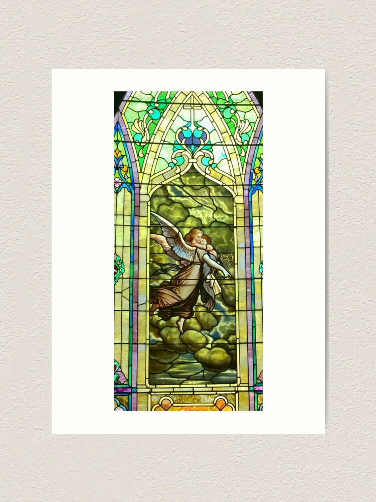 Alternate view of New Harmony-Stained Glass-Madonna & Child-Angel & Baby-St. Stephen's Church Art Print