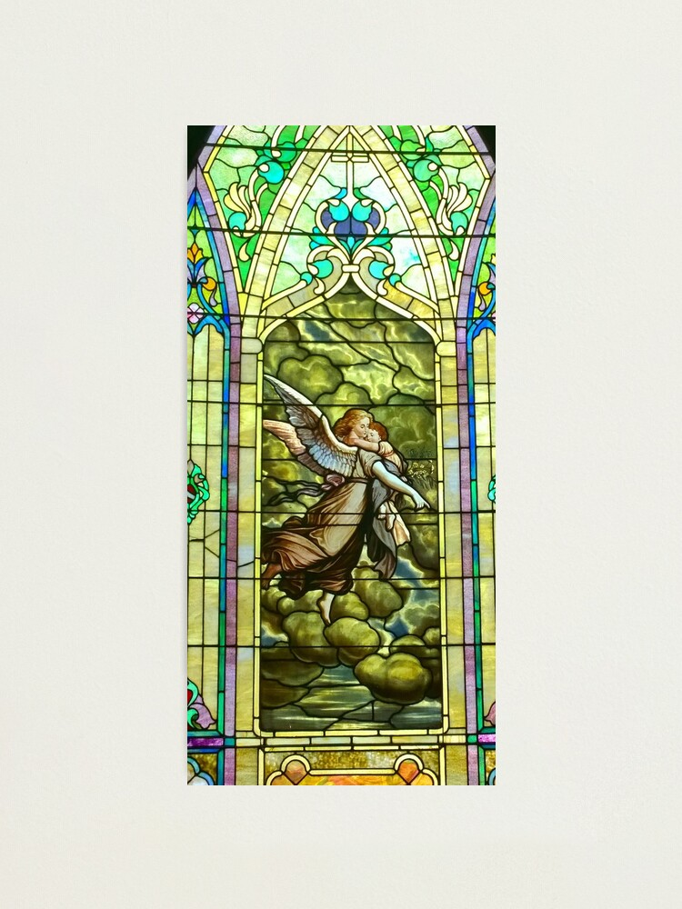 Alternate view of New Harmony-Stained Glass-Madonna & Child-Angel & Baby-St. Stephen's Church Photographic Print