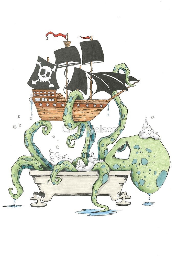 Kraken in the Tub by Chad Nelson